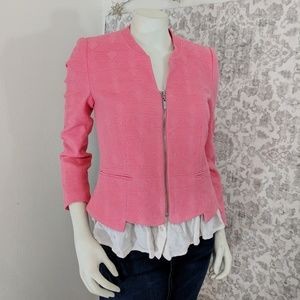 Zara Trafaluc Watermelon Color Textured zip Blazer